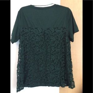 New Hunter green/lace back top plus  1X (2/$18)